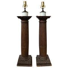 Pair of 18th Century Italian Carved Wooden Columns as Lamps