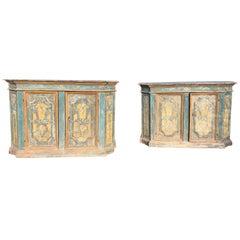 Rare Pair of 18th Century Italian Credenzas.
