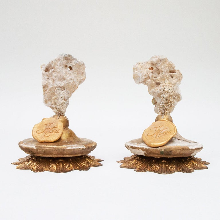 Shell Pair of 18th Century Italian Decorated Candlestick Tops For Sale
