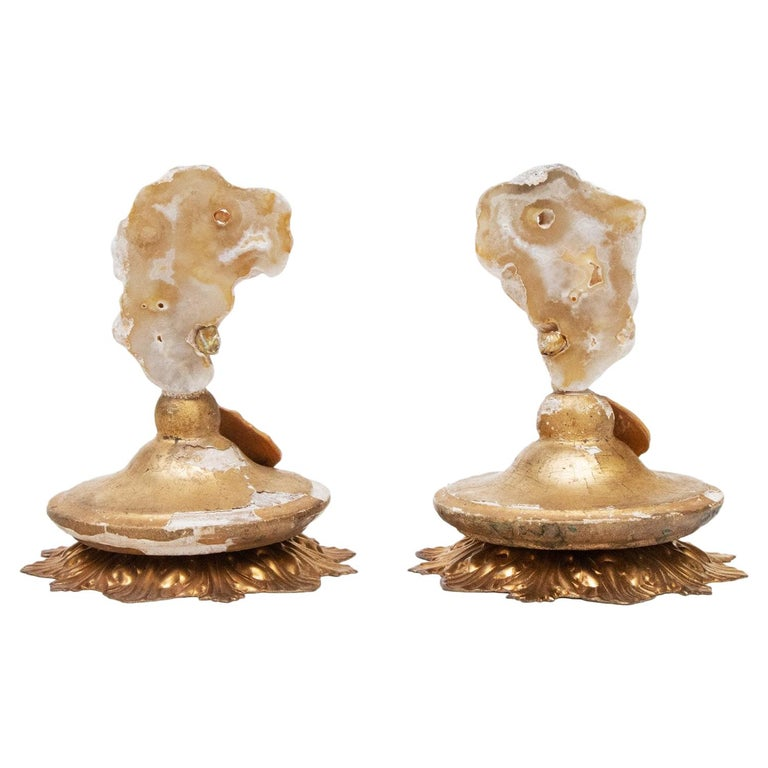 Pair of 18th Century Italian Decorated Candlestick Tops For Sale