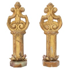 Pair of 18th Century Italian Processional Finials with Tangerine Crystal Points