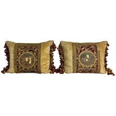 Pair of 18th Century Italian Embroidered Metallic Velvet Pillows