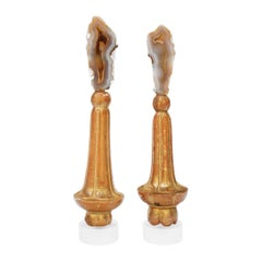 Pair of 18th Century Italian Finial Bases with Agate Coral on a Lucite Base