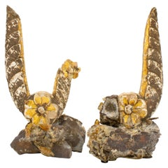 Pair of 18th Century Italian Fragments with Gold Flower Reliefs & Golden Barite