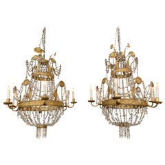 Pair of 18th Century Italian Gilt Metal Beaded and Crystal Chandeliers