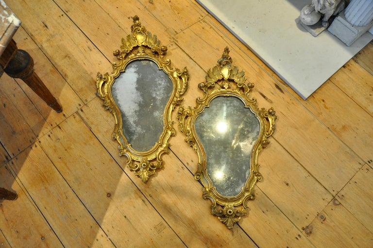Pair of Italian 18thcentury gilt mirrors with original glass and original gilding.
