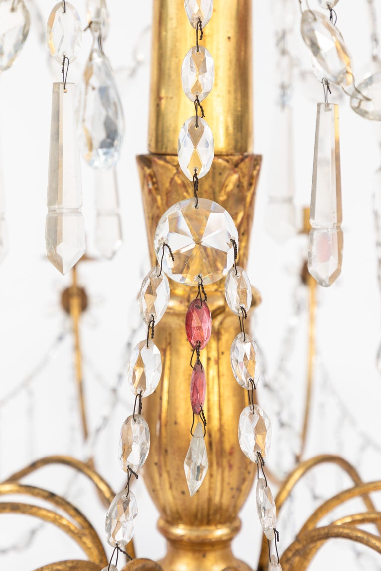 Pair of 18th Century Italian Giltwood and Gilded Iron Chandeliers 4