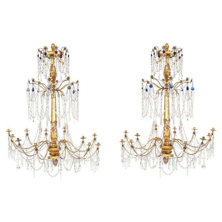 Pair of 18th Century Italian Giltwood and Gilded Iron Chandeliers