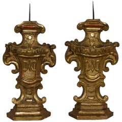 Pair of 18th Century Italian Giltwood Baroque Candlesticks or Candleholders