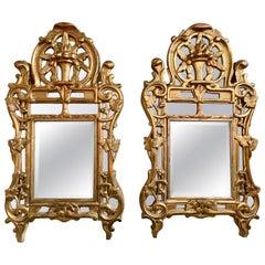 Pair of 18th Century Italian Giltwood Mirrors