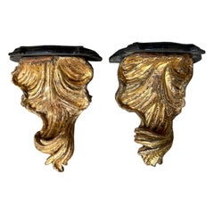 Pair of 18th Century Italian Giltwood Shell Brackets with Marble Tops