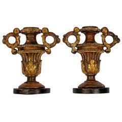 Pair of 18th Century Italian Giltwood Urn Ornaments