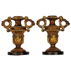 Pair of 18th Century Italian Giltwood Urn Ornaments