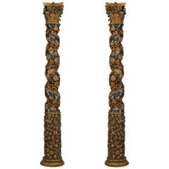 Pair of 18th Century Italian Gold Carved Solomonic Columns