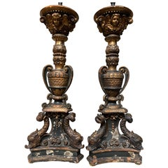 Pair of 18th Century Italian Gold Leaf and Blue Painted Candlesticks