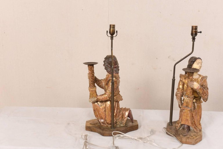 Pair of 18th Century Italian Hand-Carved and Painted Wood Figurative Table Lamps For Sale 6