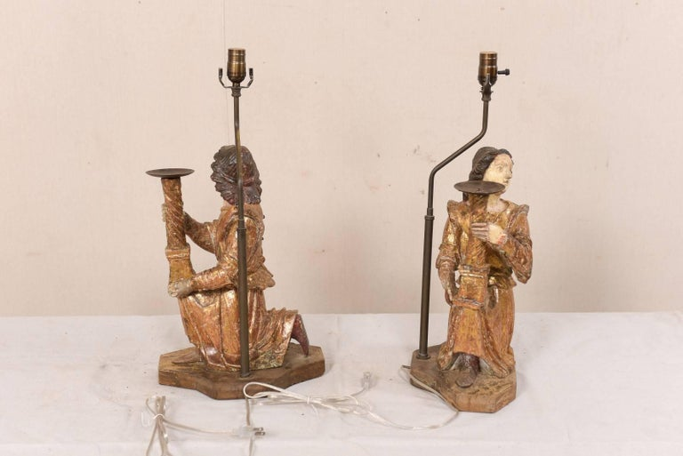 Pair of 18th Century Italian Hand-Carved and Painted Wood Figurative Table Lamps For Sale 7