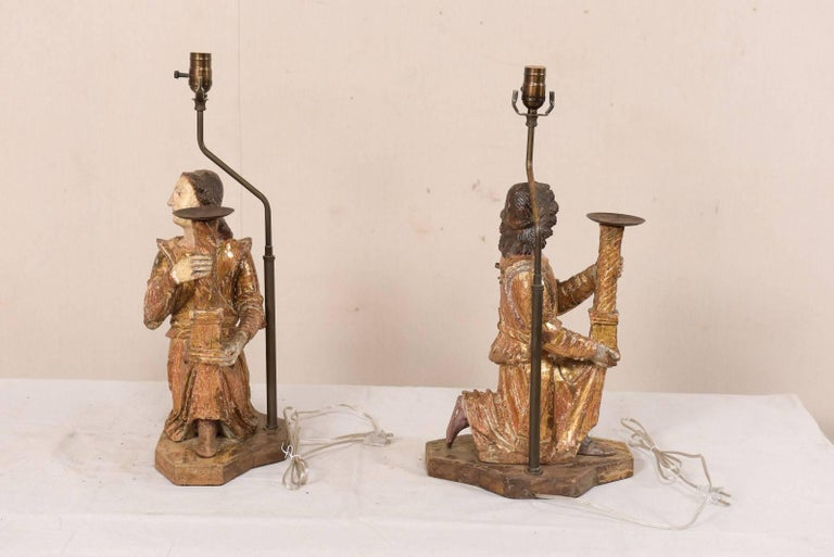 Pair of 18th Century Italian Hand-Carved and Painted Wood Figurative Table Lamps In Good Condition For Sale In Atlanta, GA