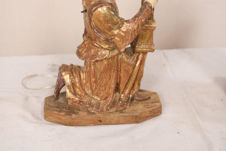 Pair of 18th Century Italian Hand-Carved and Painted Wood Figurative Table Lamps For Sale 1