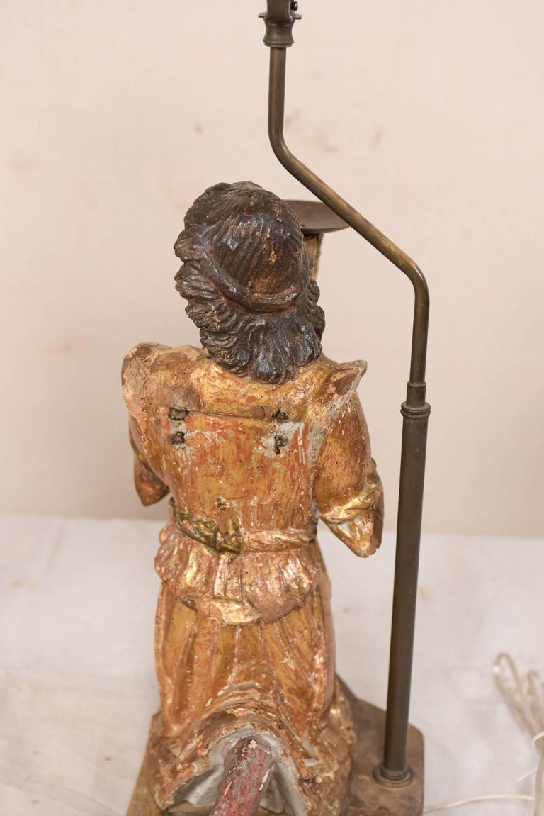 Pair of 18th Century Italian Hand-Carved and Painted Wood Figurative Table Lamps For Sale 2
