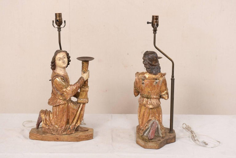 Pair of 18th Century Italian Hand-Carved and Painted Wood Figurative Table Lamps For Sale 4