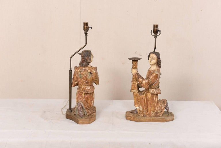 Pair of 18th Century Italian Hand-Carved and Painted Wood Figurative Table Lamps For Sale 5