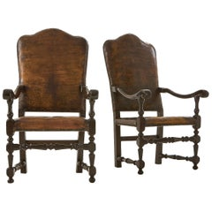 Pair of 18th Century Italian Leather Armchairs
