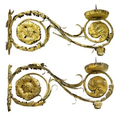Pair of 18th Century Italian Gold Gilt Sconces