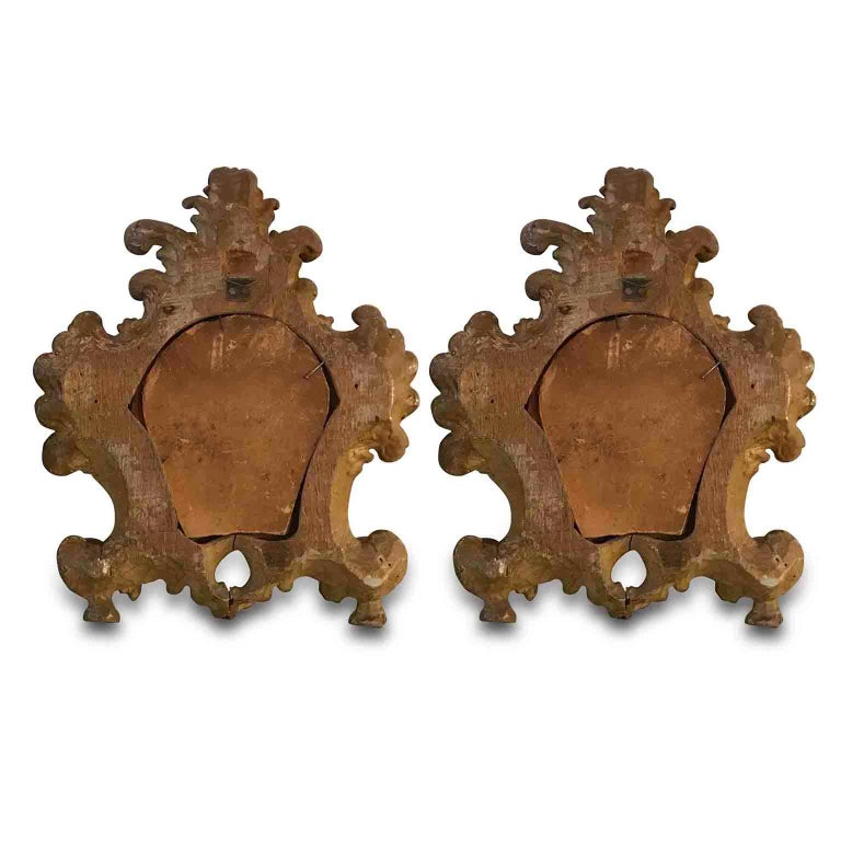 Hand-Carved Pair of 18th Century Italian Louis XV Altar Giltwood Frames with Mercury Mirror For Sale