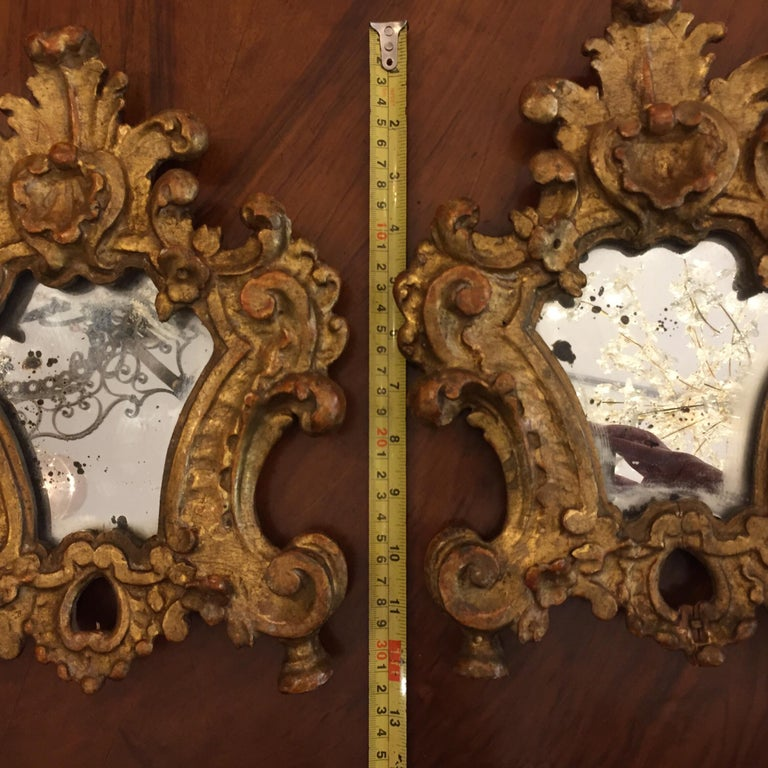 Pair of 18th Century Italian Louis XV Altar Giltwood Frames with Mercury Mirror For Sale 3