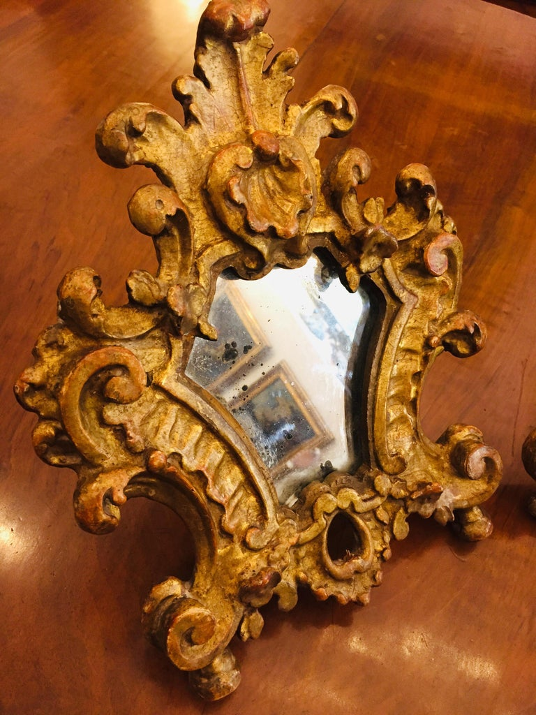 Pair of 18th Century Italian Louis XV Altar Giltwood Frames with Mercury Mirror For Sale 4