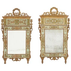 Pair of 18th Century Italian Mirrors with Original Paint and Gilding