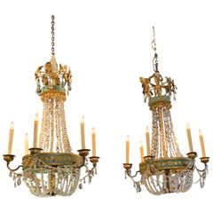 Pair of 18th Century Italian Neoclassical Crystal and Painted Tole Chandeliers