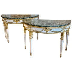 Pair of 18th Century Italian Neoclassical Demi-lune Console Tables