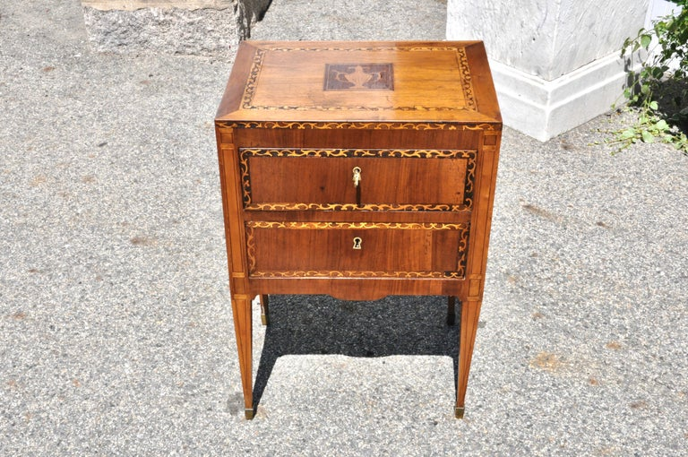 Pair of 18th Century Italian Neoclassical Small Commodes in Fruitwood For Sale 2