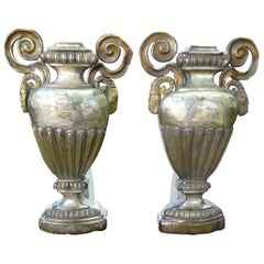 Pair of 18th Century Italian Neoclassical Style Silver Urns or Porta Palmas