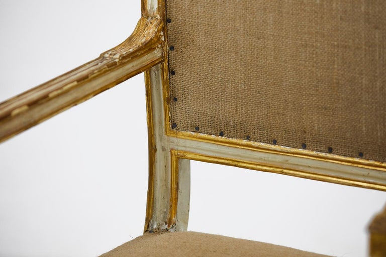 18th Century and Earlier Pair of 18th Century Italian Painted and Gilt Armchairs For Sale