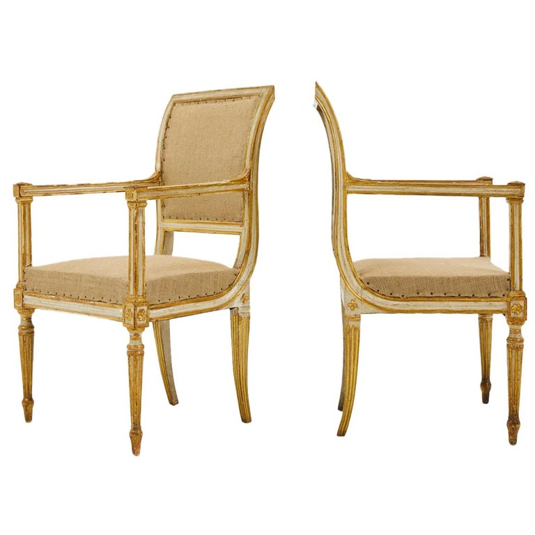 Pair of 18th Century Italian Painted and Gilt Armchairs For Sale
