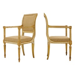 Pair of 18th Century Italian Painted and Gilt Armchairs