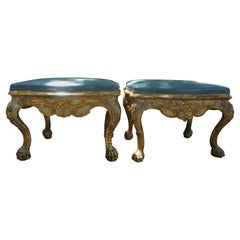 Pair of 18th Century Italian Painted and Giltwood Benches