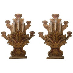 Pair of 18th Century Carved Italian Painted Wood Wall Sconces with Three Lights