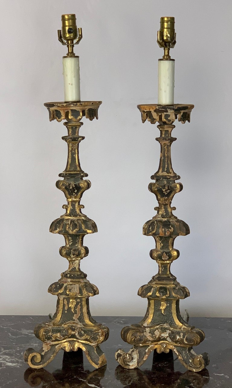 Baroque Pair of 18th Century Italian Pricket Candlestick Lamps