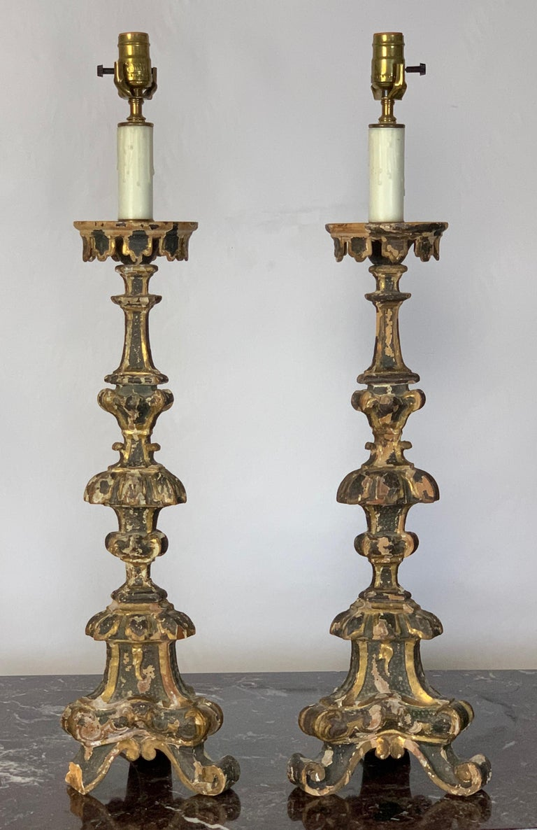 Carved Pair of 18th Century Italian Pricket Candlestick Lamps