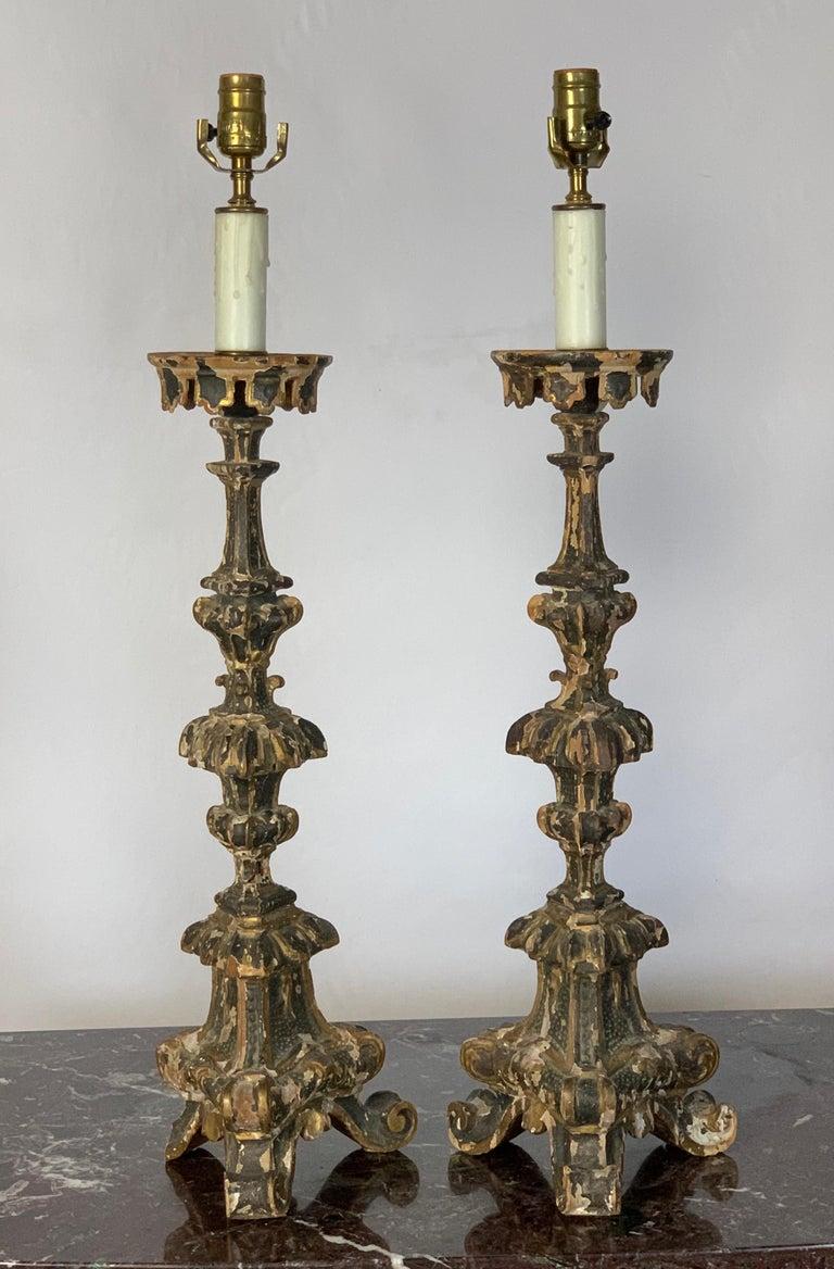 Pair of 18th Century Italian Pricket Candlestick Lamps In Fair Condition In Kilmarnock, VA