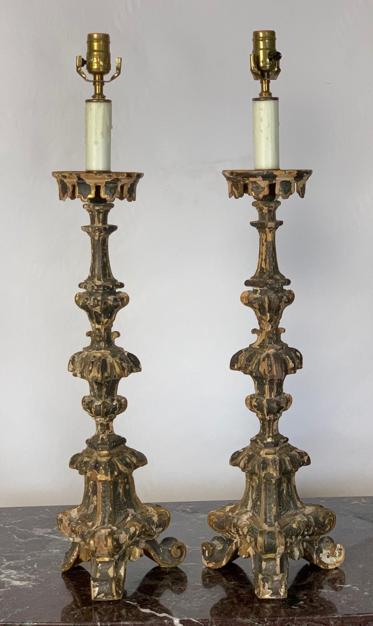 Mid-18th Century Pair of 18th Century Italian Pricket Candlestick Lamps