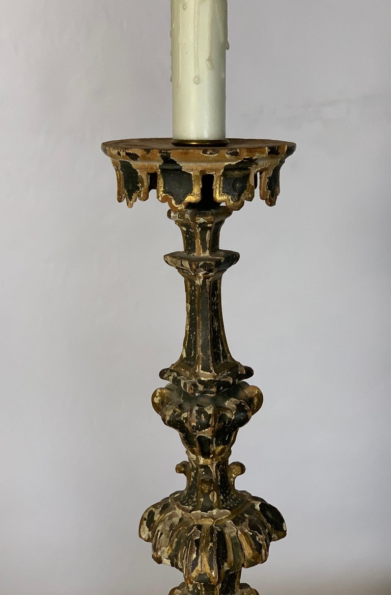 Wood Pair of 18th Century Italian Pricket Candlestick Lamps