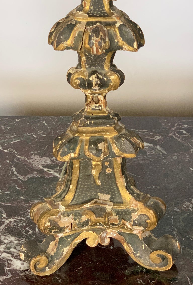 Pair of 18th Century Italian Pricket Candlestick Lamps 1