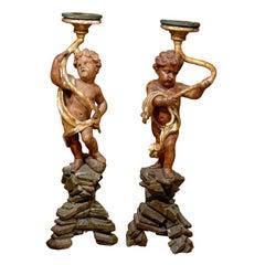 Pair of 18th Century Italian Putti Pedestals