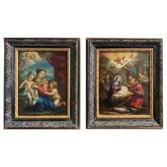 Pair of 18th Century Italian Religious Oil Paintings on Copper in Carved Frames