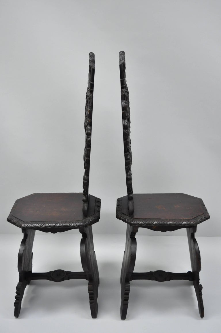 Pair of 18th Century Italian Renaissance Lion Carved Walnut Sgabello Hall Chairs For Sale 7